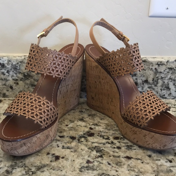 7c7993ead2 Tory Burch Shoes | Daisy Perforated Wedge | Poshmark